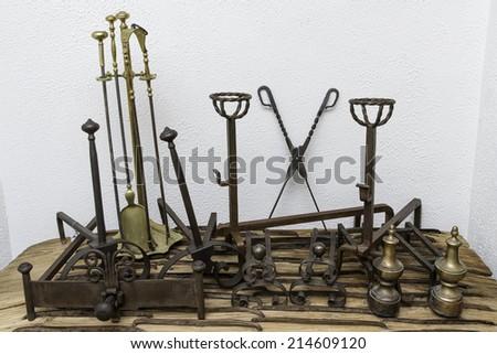 Set of Fireplace Tools - stock photo