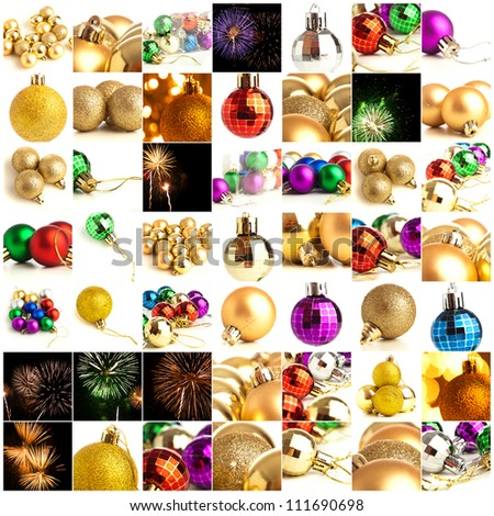 Set Of Fireworks And Christmas Balls, Close-up - stock photo