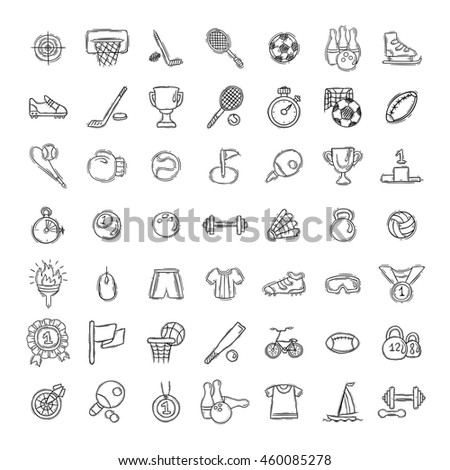 Set of Fitness and Sport doodle icons for web and mobile. Raster collection. - stock photo