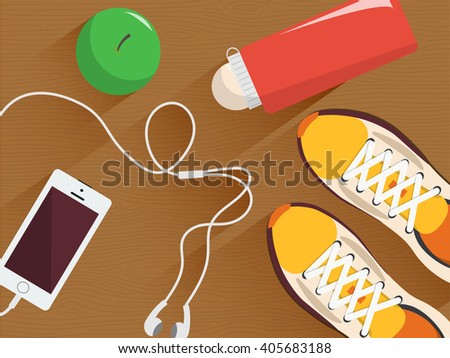 Set of fitness equipment. Minimal flat illustration. Sneakers, bottle of water, headphones and phone, apple on the wooden floor. Concept of workout or jogging.
