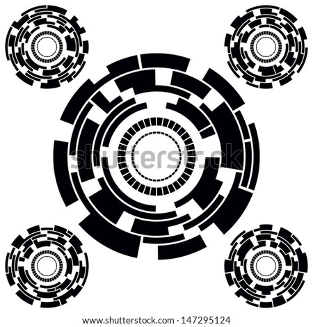 Set of Five Black and White Futuristic Circle Charts. Rasterized version - stock photo