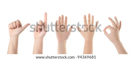 Set of five  different hand signs. Isolated on white.