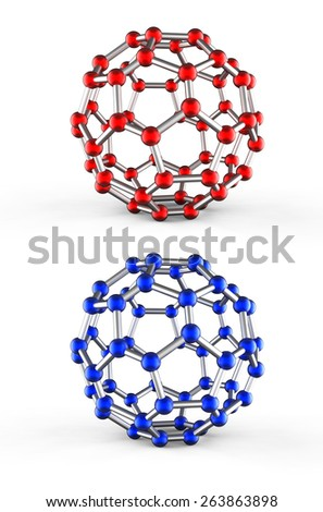 Set of five molecular spheres - stock photo
