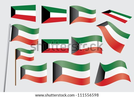 set of flags of Kuwait illustration