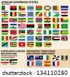 Set of Flags of sovereign states and other territories of Africa April 2013). - stock vector