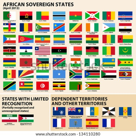 Set of Flags of sovereign states and other territories of Africa April 2013).
