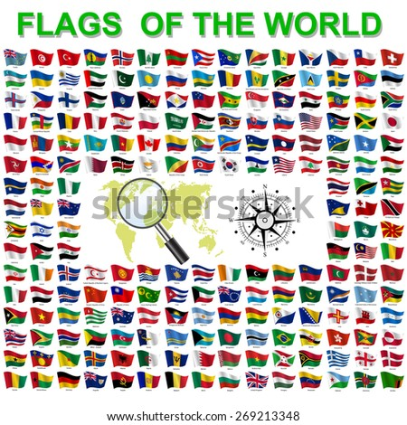 Set of Flags of world sovereign states.  illustration. - stock photo