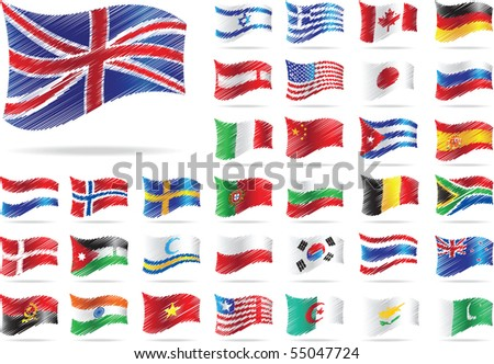 Set of flags. Raster version of vector illustration.