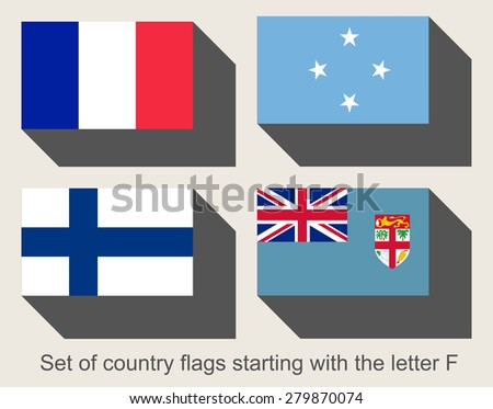 Set of flags starting with the letter F - stock photo