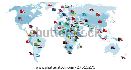 Set of flags. World map. Raster version of vector illustration. - stock photo