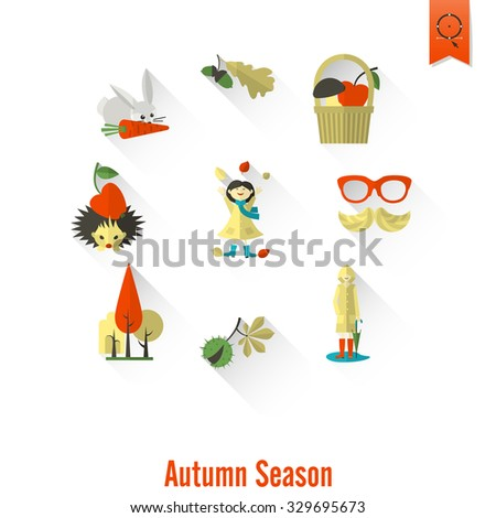 Set of Flat Autumn Icons. Simple and Minimalistic Style.