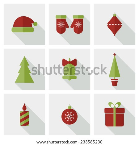 Set of flat Christmas icons with shadows. Raster version - stock photo