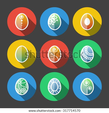 Set of flat colored Easter eggs icons with long shadow - stock photo