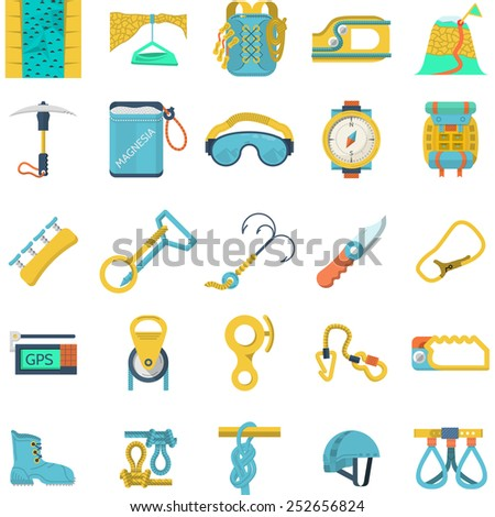 Set of flat colored icons for equipment and outfit for rock climbing, alpinism, mountaineering on white background for your site. - stock photo