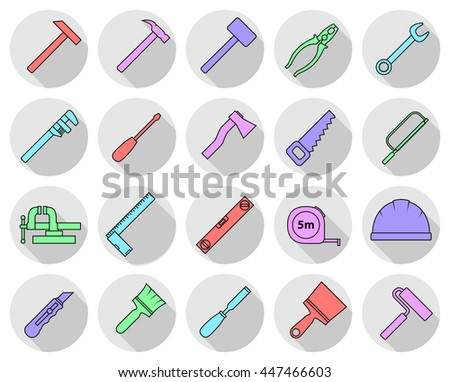 Set of flat colorful repair tool icons. Home repair sign. Worker tools. Raster version.