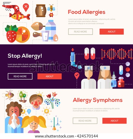 Set of flat design allergy and allergen banners, headers with icons and infographics elements - stock photo