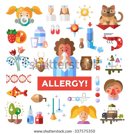 Set of flat design allergy and allergen icons and infographics elements - stock photo