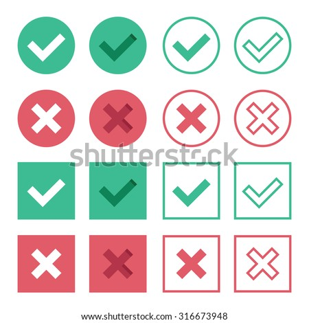Set of flat design check marks icons. 8 different variations of ticks and crosses represents confirmation, right and wrong choices, Task completion, voting, etc. Isolated on white background - stock photo