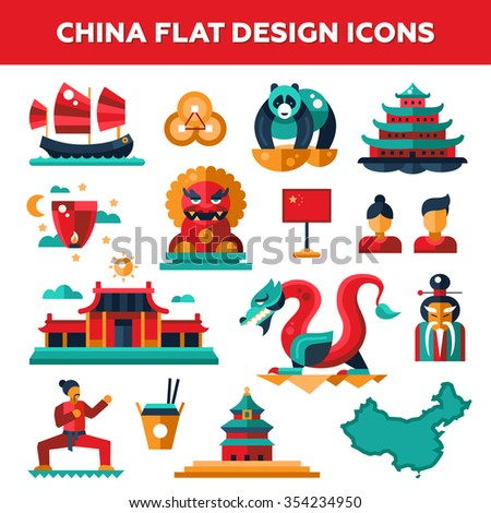 Set of flat design China travel icons and infographics elements with landmarks and famous Chinese symbols