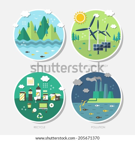 set of  flat design concept illustrations with icons of ecology