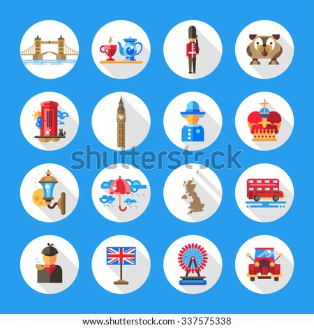 Set of flat design England travel icons and infographics elements with landmarks and famous London and United Kingdom symbols