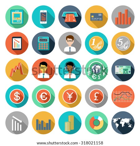 Set of flat design icons with financial infographics. Raster illustration - stock photo