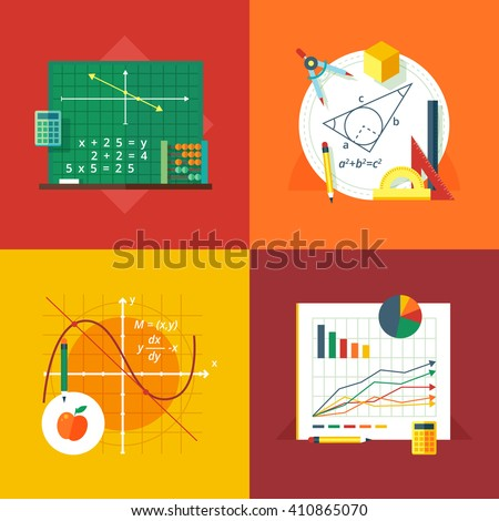 Set of flat design illustration concepts for algebra, geometry, calculus, statistics.  Education and knowledge ideas. Mathematic science.  Concepts for web banner and promotional material.  - stock photo