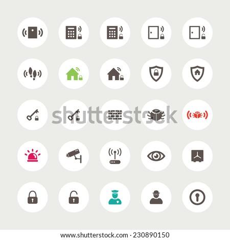 Set of flat design secure  icons - stock photo