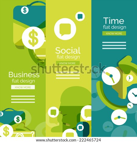 Set of flat design universal web concepts, banners with promo text - business, social and time - stock photo