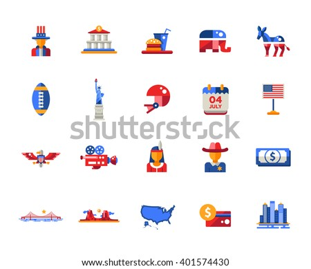 Set of flat design USA travel icons and infographics elements with landmarks and famous American symbols