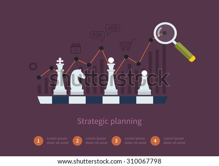 Set of flat design vector illustration concepts for data analysis, strategy planning and successful business.  - stock photo
