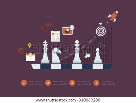 Set of flat design vector illustration concepts for strategy planning, goal-oriented planning, successful business and emerging market - stock photo