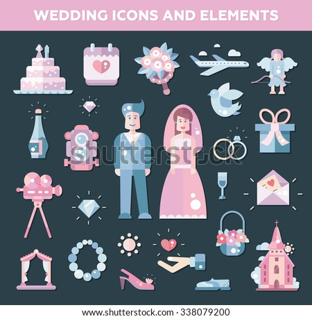 Set of flat design wedding and marriage icons and elements