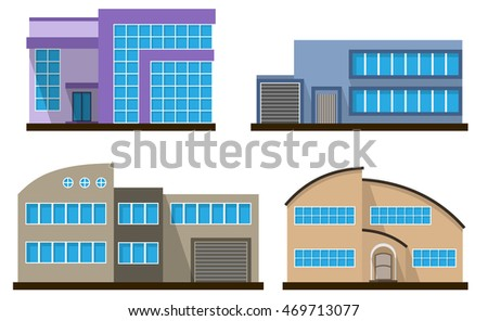 Set of flat house. Home icon. Town cottage. Real estate building. Raster version.