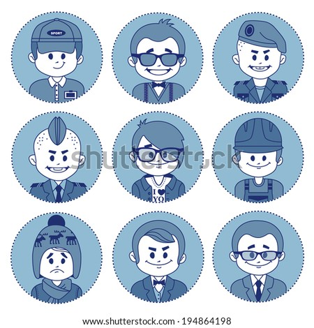 Set of flat icons with characters on blue background. Different professions . Flat design - stock photo