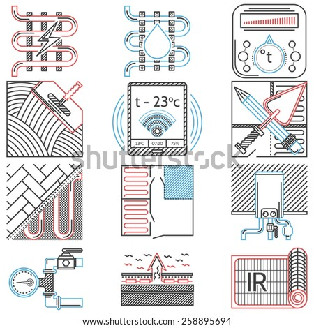 Set of flat line red, black and blue color icons for underfloor heating service on white background. - stock photo