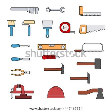 Set of flat repair tool icons. Home repair signs. Worker tools. Raster version.. - stock photo
