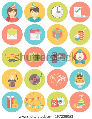 Set of flat round icons of kids birthday party in bright colors