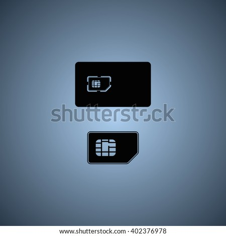 Set of flat sim card and case illustration. - stock photo