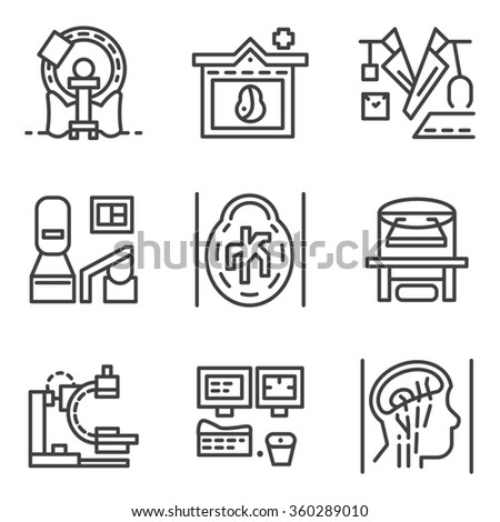 Set of flat simple line icons for medical research. MRI, CT scan, MRI equipment, brain imaging and other elements for your website - stock photo