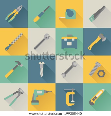 set of flat tools icons - stock photo