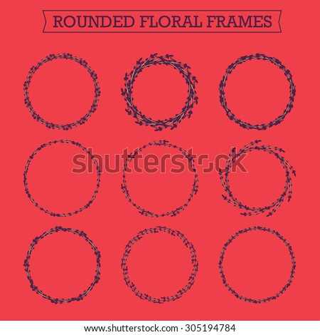 Set of floral hand drawn frames. Collection of editable rounded frames on white background. Good for book illustration, card design and menu cover. - stock photo