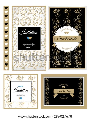 Set of floral Save the Date for events design - stock photo