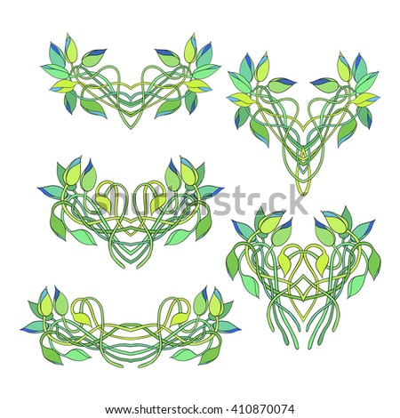 Set of floral vignettes isolated on white background. Twisted stems and buds of Tradescantia. Perfect for greetings, invitations, announcement, web design. Raster illustration. - stock photo