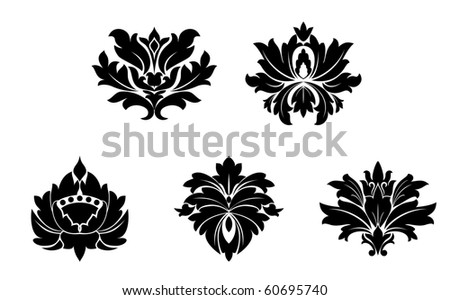 Set of flower patterns. Vector version also available in gallery - stock photo
