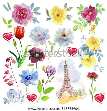 Set of flowers.  Paris. The Eiffel Tower, the inscription and flowers. Watercolor illustration