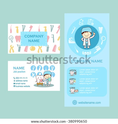 Set of flyer and business cards for dental clinic. cute cartoon tooth and doctor, great for your design - stock photo