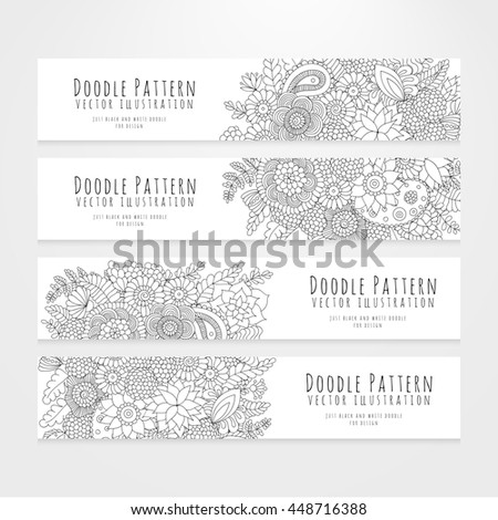Set of flyers with black and white flower doodle pattern