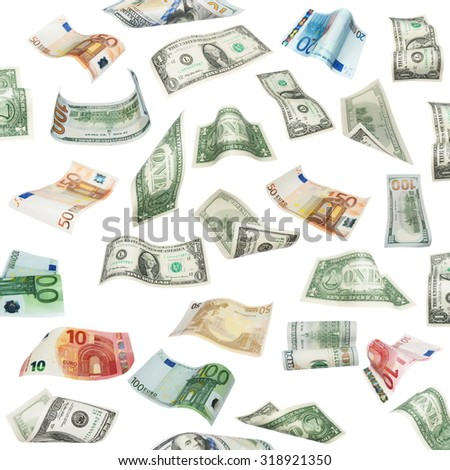 Set of flying dollars and euro banknotes isolated on white background, with clipping path, (high resolution) - stock photo
