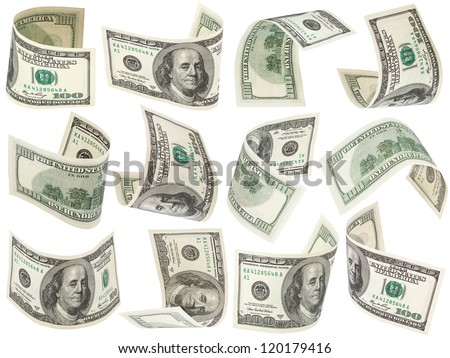 Set of flying 100 dollars banknotes isolated on a white background for collages